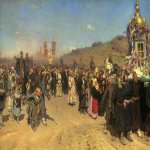 Ilya Yefimovich Repin (1844 - 1930)  Religious Procession in Kursk Province  Oil on canvas, 1880-1883  175 &#215; 280 cm  State Tretyakov Gallery, Moscow, Russia